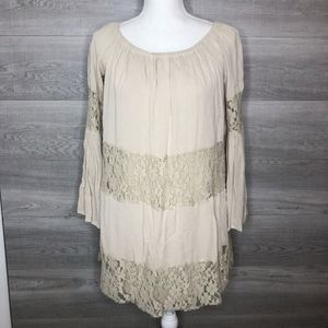 Forever 21 Tunic Dress or Top Linen Tan Size Small